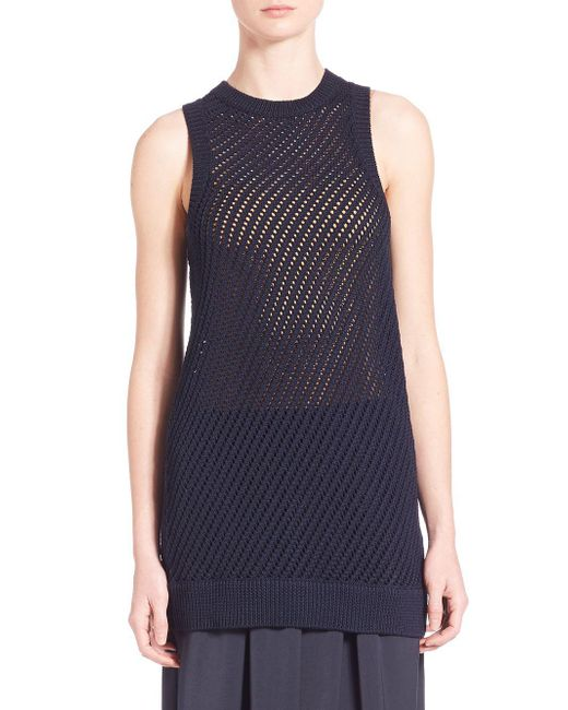 Vince | Blue Mesh Stitched Tank Top | Lyst