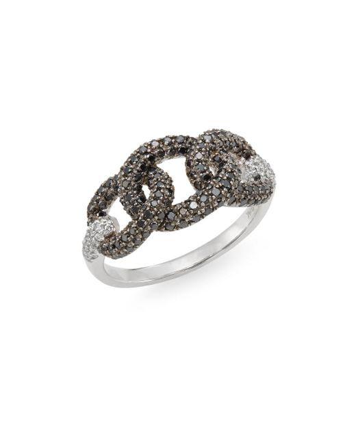 Effy - Metallic Black Diamond, White Diamond & 14k White Gold Chainlink Ring - Lyst