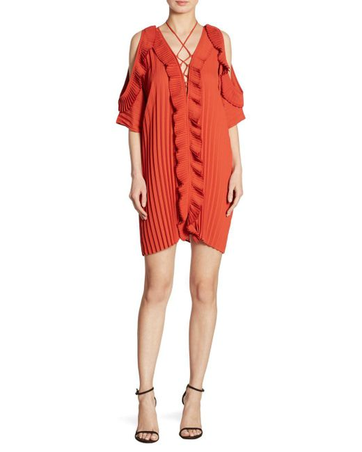 Delfi Collective - Red Gloria Pleated Cold-shoulder Lace-up Dress - Lyst