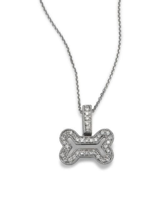 KC Designs - Multicolor Diamond & 14k White Gold Bone-shaped Pendant Necklace- 16in - Lyst