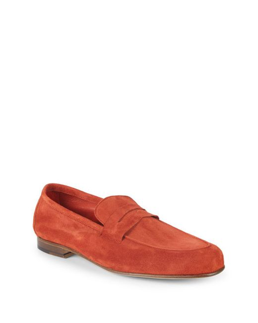 Saks Fifth Avenue - Red Flex Suede Penny Loafers for Men - Lyst