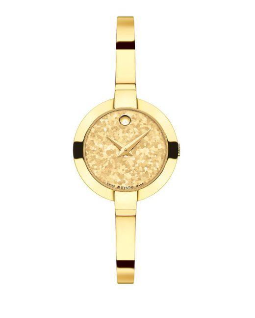 Movado - Metallic Bela Crystalized Goldtone Stainless Steel Bangle Bracelet Watch - Lyst
