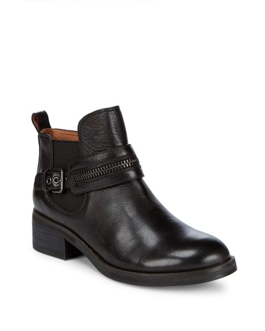 Gentle Souls - Black Penny Zip Leather Booties - Lyst