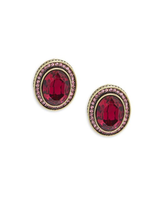 Heidi Daus - Red Crystal Oval Earrings - Lyst