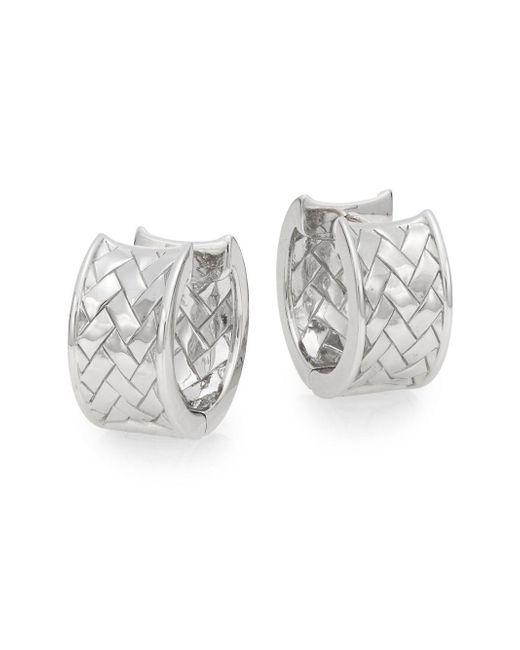 Saks Fifth Avenue - Metallic Sterling Silver Basket Weave Huggie Earrings - Lyst