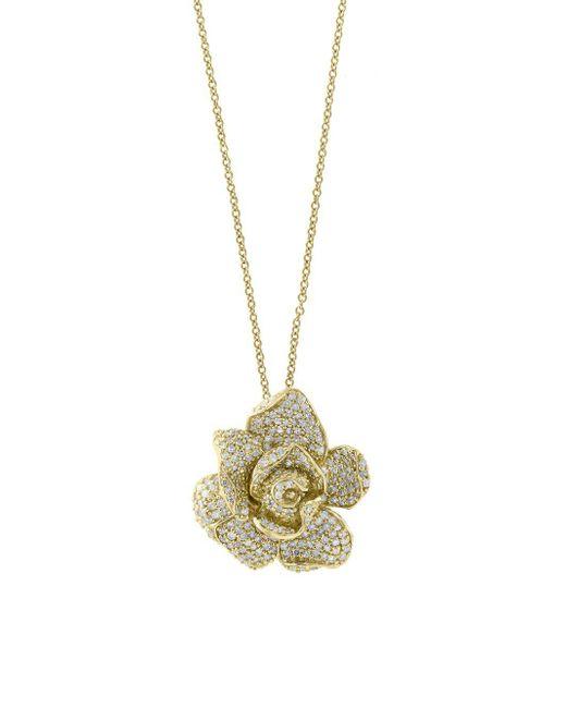 Effy - Metallic Diamond And 14k Yellow Gold Pendant Necklace, 1.33 Tcw - Lyst