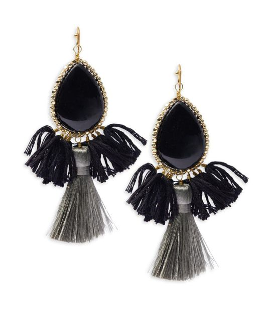 Panacea | Black Fringe Drop Earrings | Lyst