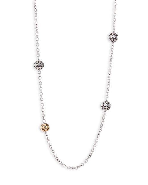 John Hardy - Metallic Dot 18k Yellow Gold & Sterling Silver Station Necklace - Lyst