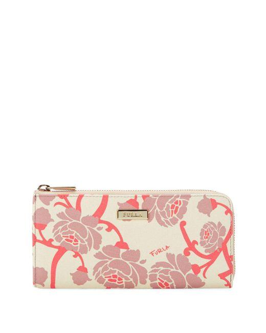 Furla - Pink Floral Leather Zip-around Wallet - Lyst