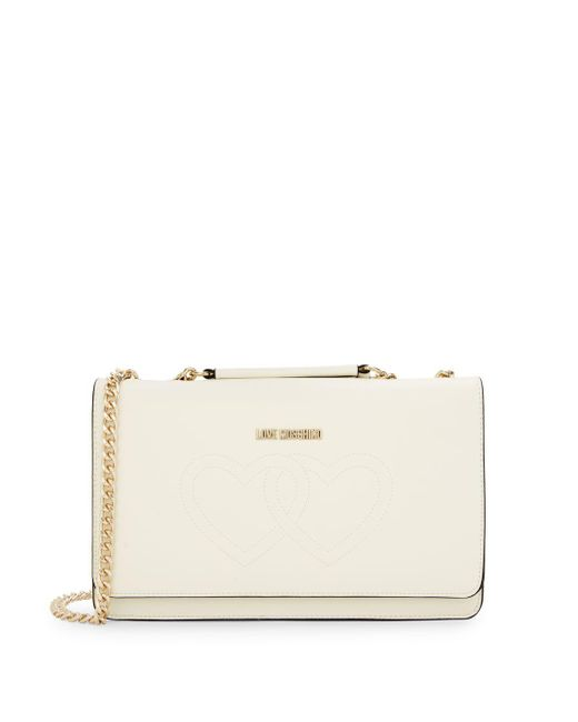 Love Moschino - White Heart Flap Crossbody Bag - Lyst