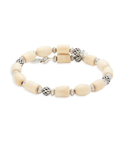 ALEX AND ANI - Metallic Blonde Wood & Metal Beads Bracelet - Lyst