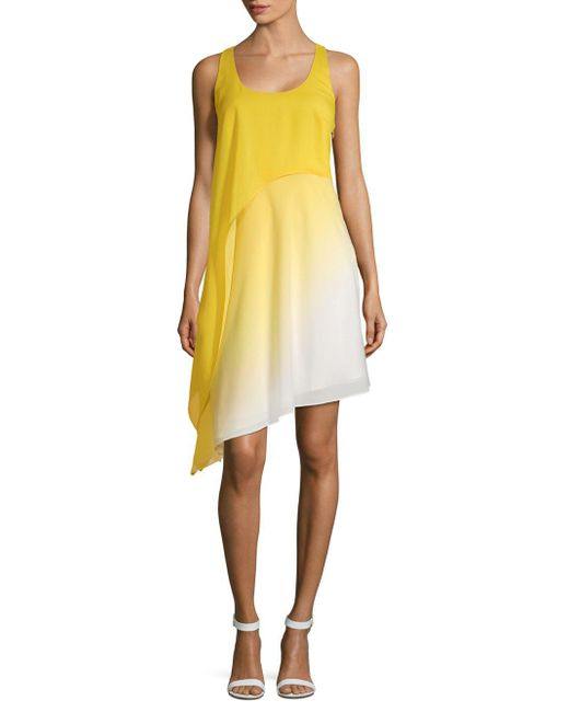 Halston Heritage - Yellow Ombre Shift Dress - Lyst