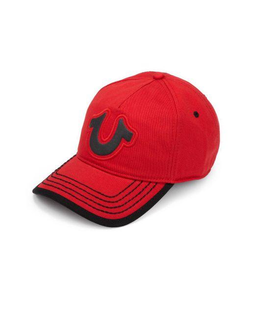 True Religion - Red Puff Logo Baseball Cap for Men - Lyst