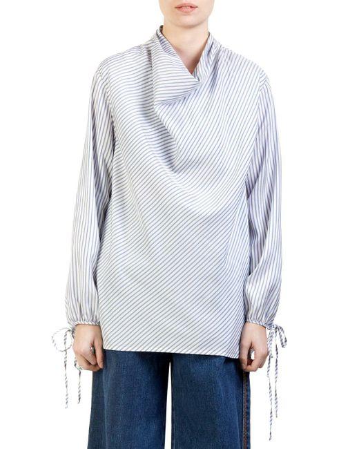 Loewe - Women's Draped Silk Stripe Top - Blue White - Lyst