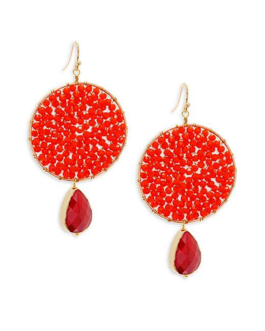Panacea - Red Crystal Beaded Drop Earrings - Lyst