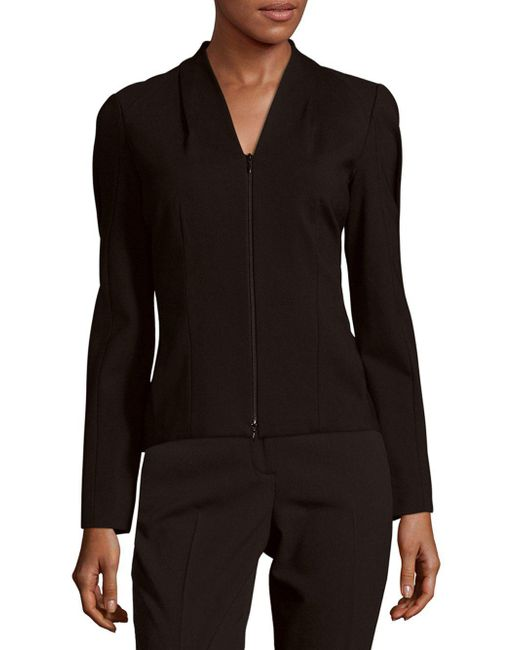 Lafayette 148 New York | Black V-neck Long Sleeve Jacket | Lyst