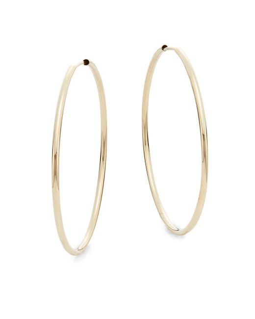 """Saks Fifth Avenue - Metallic 14k Yellow Gold Hoop Earrings/1.6"""" - Lyst"""