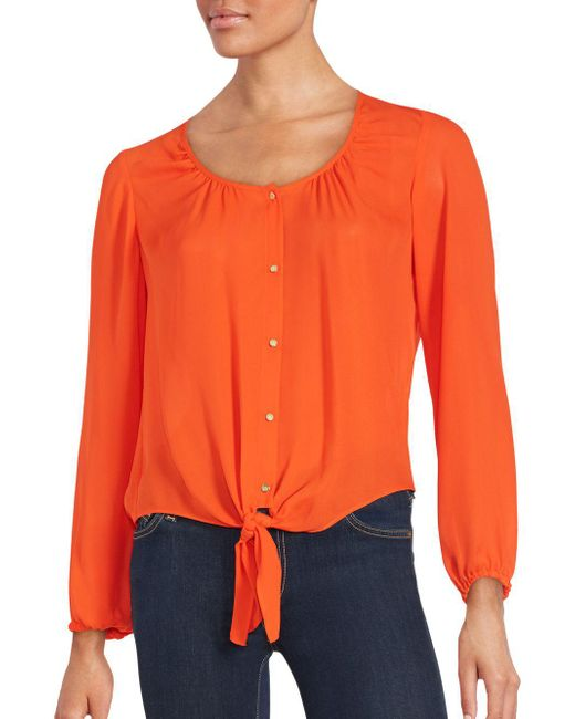 Chaus New York   Orange Knotted Hem Long Sleeve Blouse   Lyst