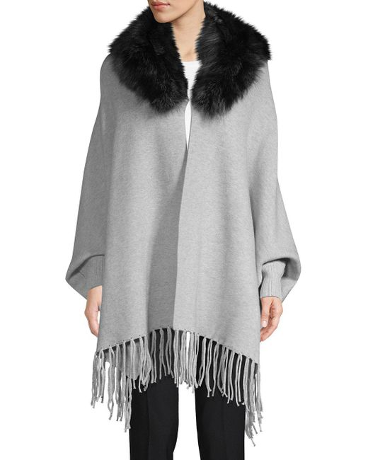 Belle Fare - Gray Dyed Fox Fur Trim Open-front Poncho - Lyst