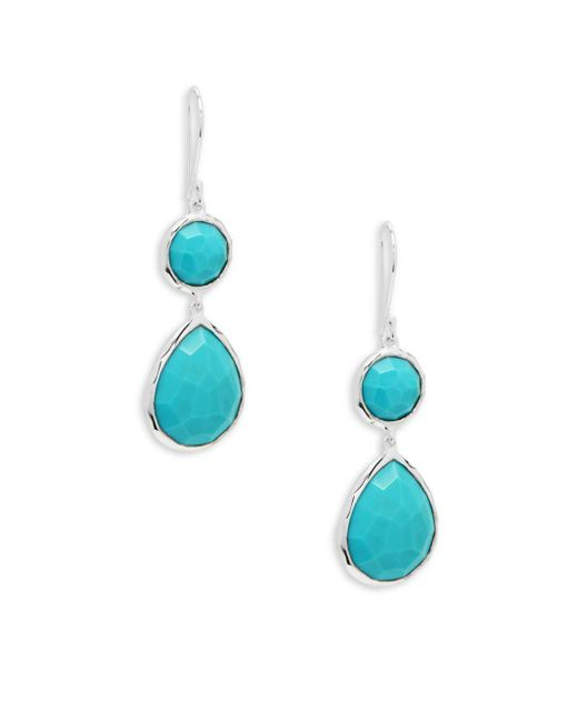 Ippolita - Blue Turquoise And Sterling Silver Snowman Drop Earrings - Lyst