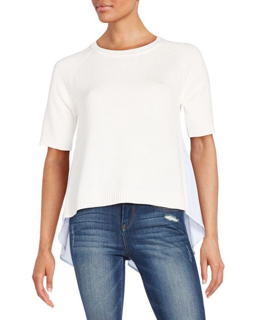 French Connection - White Solid Ribbed Roundneck Top - Lyst