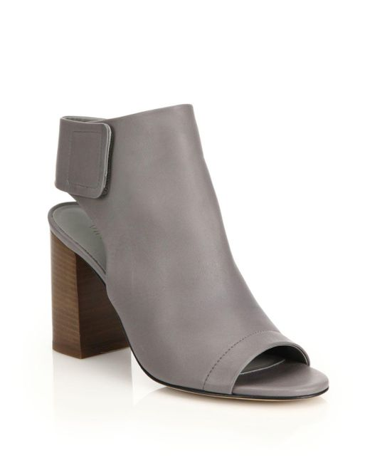 Vince - Gray Faye Open-toe Leather Booties - Lyst