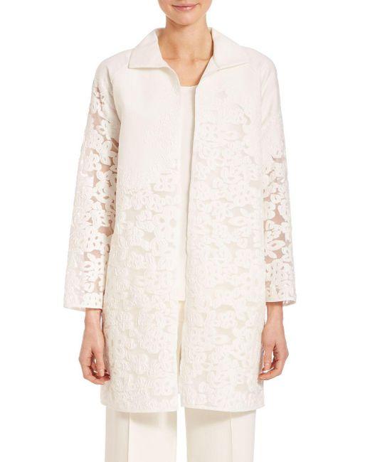 Lafayette 148 New York - White Floral Fil Coupe Mirella Jacket - Lyst