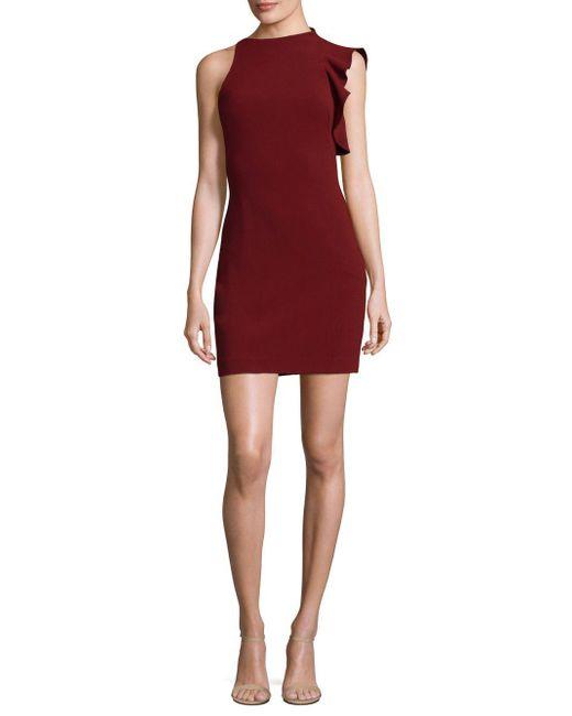 Black Halo - Red Pabla Ruffle-shoulder Mini Dress - Lyst