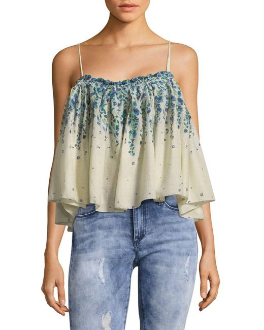 Free People - White Cotton Flounce Crop Top - Lyst
