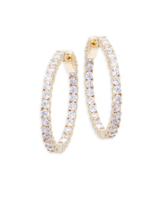"""Saks Fifth Avenue - Metallic Crystal Hoop Earrings/1.21"""" - Lyst"""