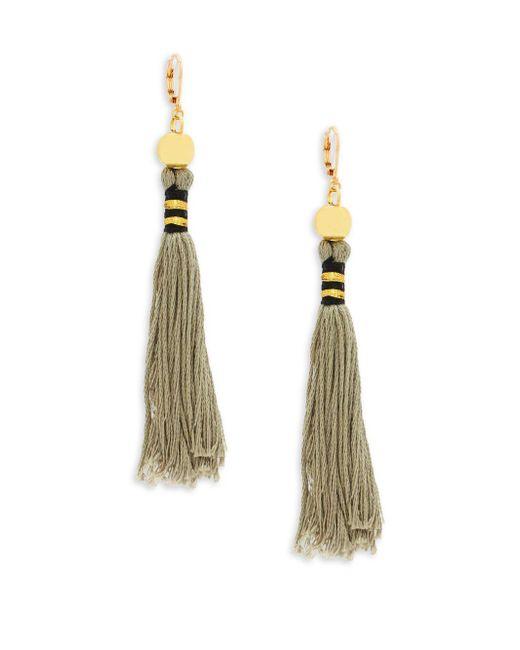 Shashi - Gray Katerina Gold, Beaded & Tassel Drop Earrings - Lyst