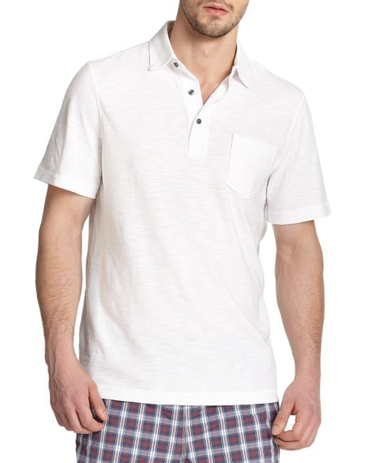 Saks Fifth Avenue - White Collection Slub Polo for Men - Lyst