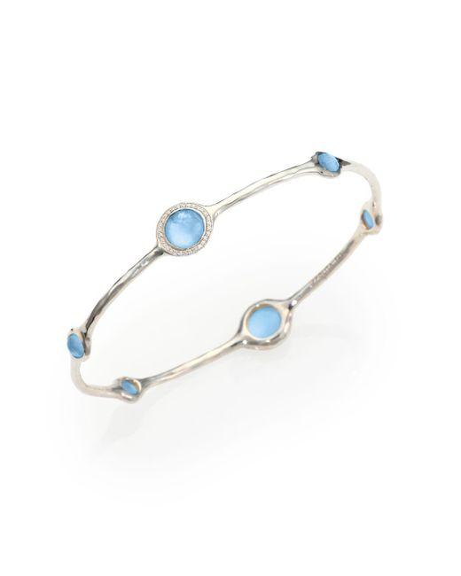 Ippolita - Metallic Stella Swiss Blue Topaz, Mother-of-pearl, Diamond & Sterling Silver Doublet Bangle Bracelet - Lyst