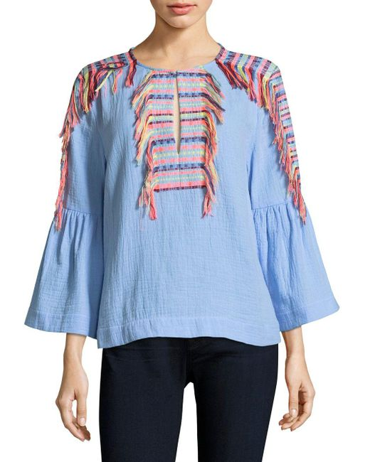 BCBGMAXAZRIA - Blue Embroidered Tassel Chambray Blouse - Lyst