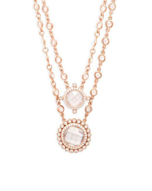 Freida Rothman - Metallic Crystal Double Layer Pendant Necklace - Lyst