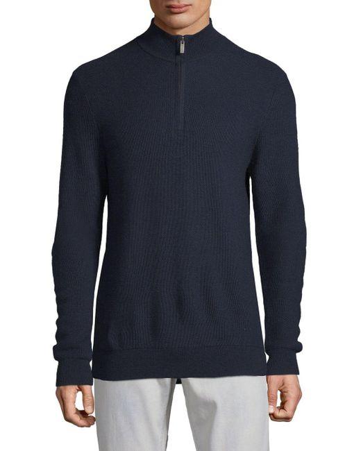 Saks Fifth Avenue - Blue Textured Quarter-zip Wool Sweater for Men - Lyst