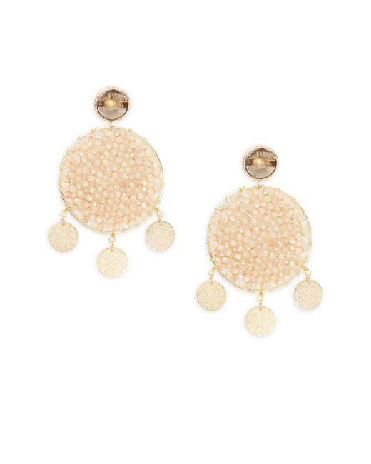 Panacea - Metallic Crystal Beaded Drop Earrings - Lyst