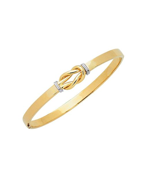 Saks Fifth Avenue - Metallic 14k Two-tone Gold Knot Bangle Bracelet - Lyst