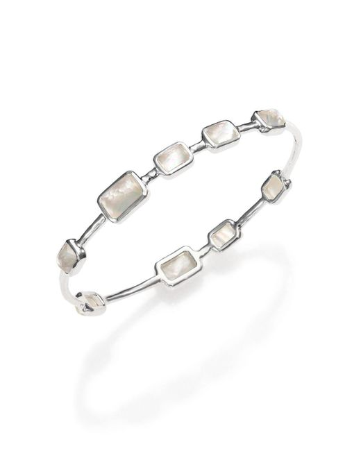 Ippolita - Metallic Rock Candy Mother-of-pearl, Clear Quartz & Sterling Silver Rectangle Doublet Station Bangle Brac - Lyst