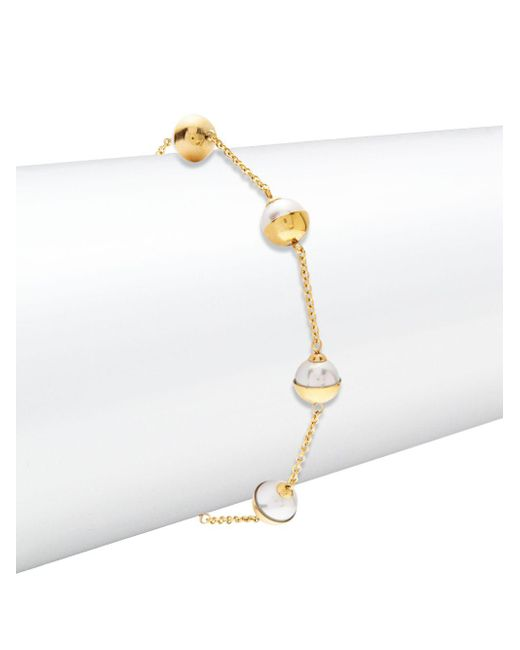 Majorica - 7mm White Pearl & 18k Gold-plated Bracelet - Lyst