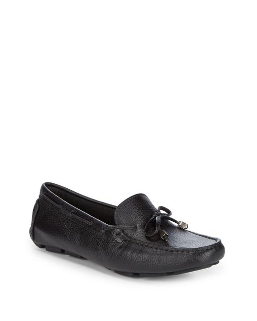 Saks Fifth Avenue - Black Lace-up Leather Driver Shoes - Lyst