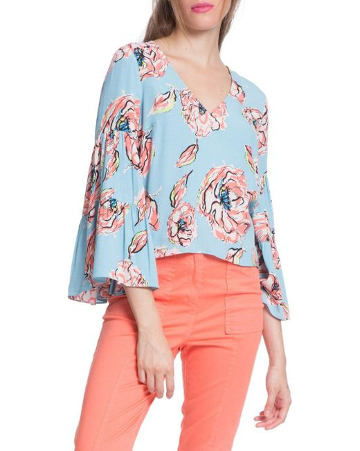 Plenty by Tracy Reese - Brown Three-quarter Flounce Sleeve Top - Lyst