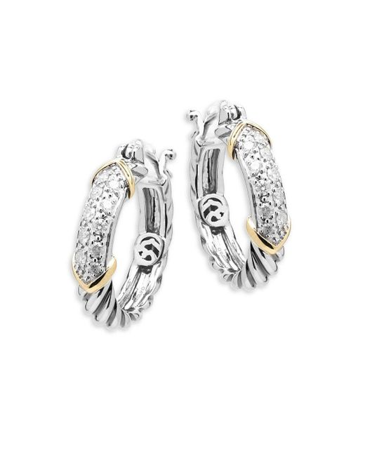 Effy - Metallic Diamond, 14k Yellow Gold And Sterling Silver Hoop Earrings, 0.32 Tcw - Lyst