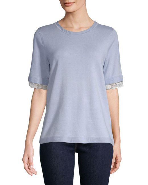 Karl Lagerfeld - Blue Lace-trimmed Sweater - Lyst