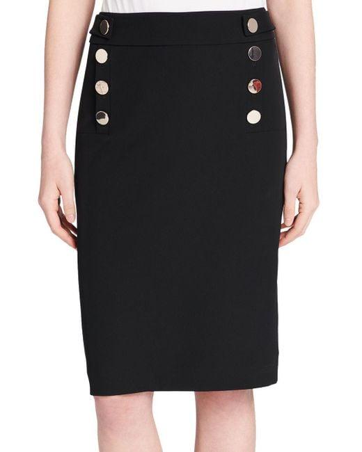 Calvin Klein - Black Buttoned Pencil Skirt - Lyst