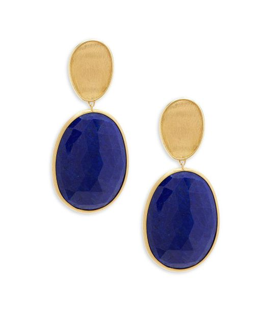 Marco Bicego - Metallic Lunaria Lapis And 18k Yellow Gold Double Drop Earrings - Lyst
