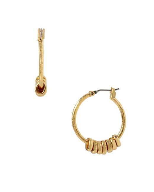 Diane von Furstenberg | Metallic Sandy Links Sandblast Ring Hoop Earrings | Lyst