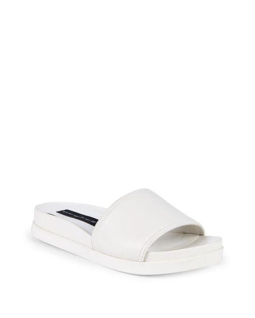 Steven by Steve Madden - White Sisley Leather Slides - Lyst
