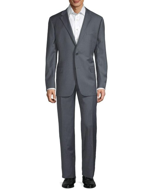 Hickey Freeman Gray Classic Fit Pinstripe Wool Suit for men