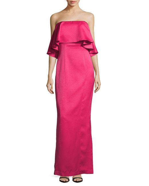Zac Posen - Pink Ruffled Straight-across Column Gown - Lyst